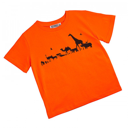 Kinder T-Shirt Zug der Tiere, orange