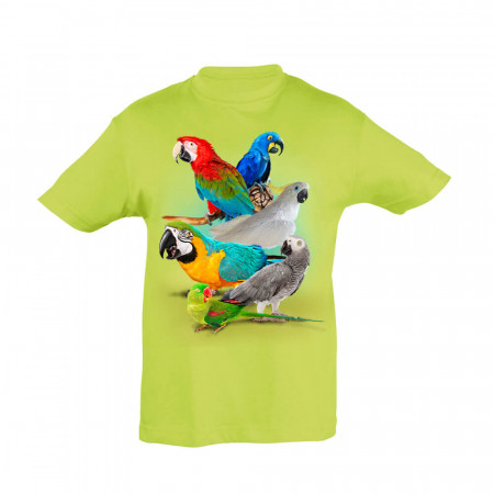 Kinder T-Shirt Papageien, grün